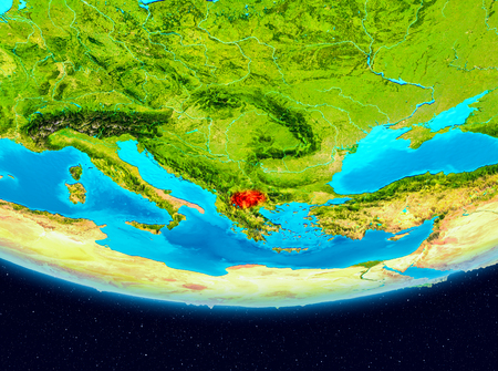 Macedonia from orbit of planet Earth. 3D illustration
