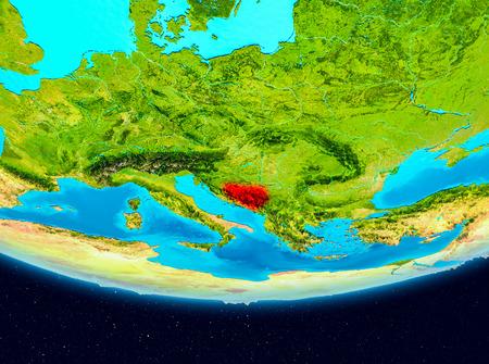 Bosnië en Herzegovina uit de baan van de planeet Aarde. 3D illustratie