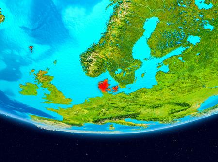 Denmark from orbit of planet Earth. 3D illustration. Stock Photo
