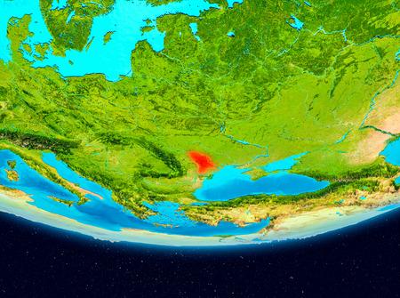 Moldova from orbit of planet Earth. 3D illustration. Stock Illustration - 94763714