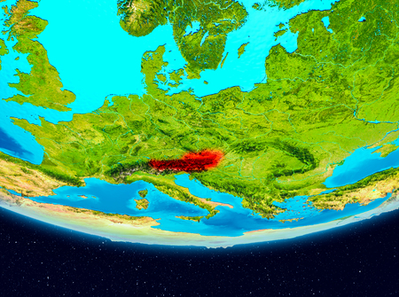 Austria from orbit of planet Earth. 3D illustration. Stock Photo