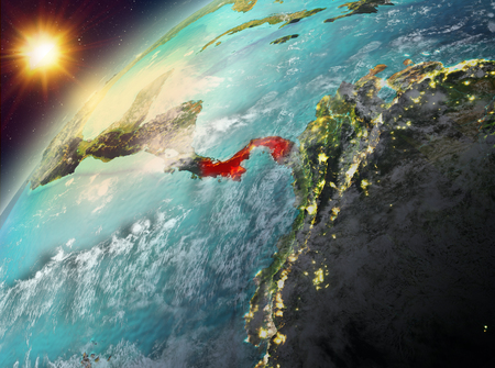 Illustration of Panama as seen from Earth's orbit during sunset. 3D illustration.