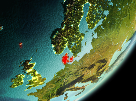 Denmark in the morning highlighted in red on planet Earth. 3D illustration. Stock Photo