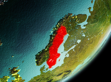 Sweden in the morning highlighted in red on planet Earth. 3D illustration. Stock Photo