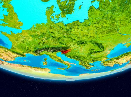 Slovenia from orbit of planet Earth. 3D illustration.