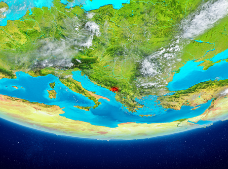 Montenegro highlighted in red on planet Earth with clouds. 3D illustration.