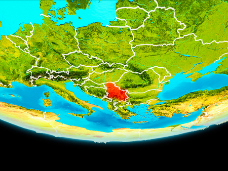 Serbia from orbit of planet Earth with visible borderlines. 3D illustration.