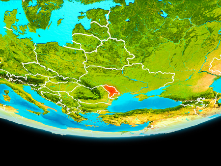 Moldova from orbit of planet Earth with visible borderlines. 3D illustration. Stock Illustration - 94583538