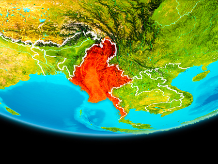Myanmar from orbit of planet Earth with visible borderlines. 3D illustration.
