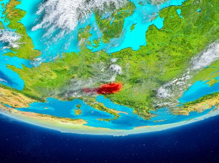 オーストリアは、雲と惑星地球上で赤で強調表示されます。3Dイラスト。 写真素材