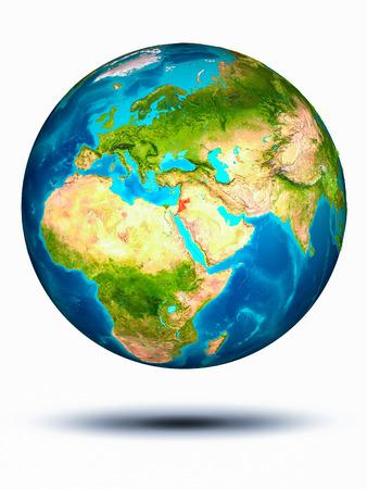 Jordanië in rood op model van planeet Aarde die in ruimte hangt. 3D illustratie op een witte achtergrond.
