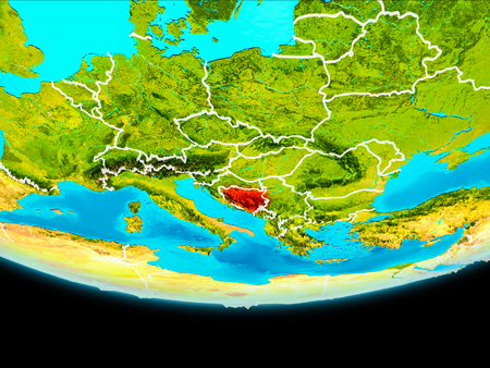 Bosnia and Herzegovina from orbit of planet Earth with visible borderlines. 3D illustration.