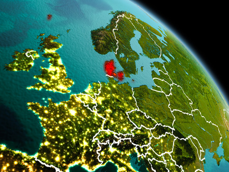Early morning view of Denmark highlighted in red on planet Earth with visible border lines and city lights. 3D illustration.