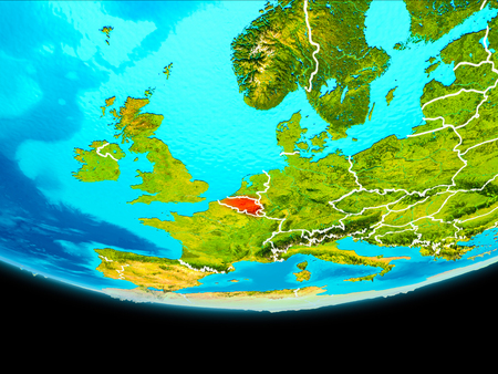 Belgium from orbit of planet Earth with visible borderlines. 3D illustration.