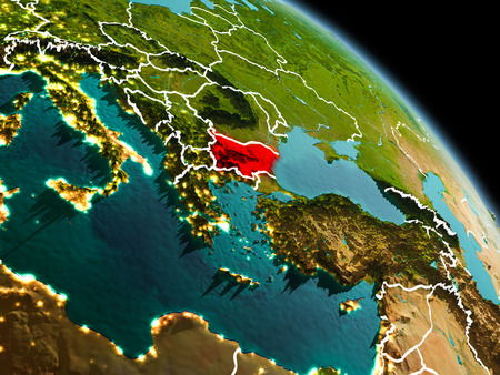 Early morning view of Bulgaria highlighted in red on planet Earth with visible border lines and city lights. 3D illustration.