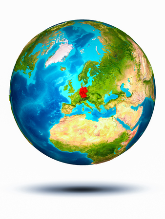 Germany in red on model of planet Earth hovering in space. 3D illustration isolated on white background. Stock fotó