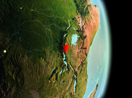 Early morning view of Burundi highlighted in red on planet Earth. 3D illustration. Stock Photo