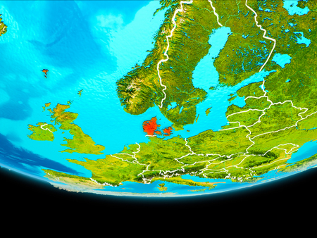 Denmark from orbit of planet Earth with visible borderlines. 3D illustration.