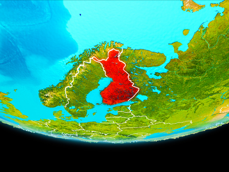 Finland from orbit of planet Earth with visible borderlines. 3D illustration. Stock Photo