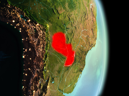Early morning view of Paraguay highlighted in red on planet Earth. 3D illustration.