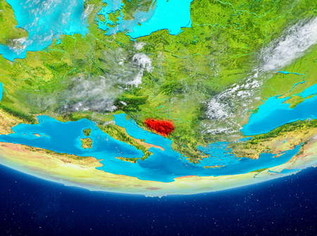Bosnia and Herzegovina highlighted in red on planet Earth with clouds. 3D illustration. Stock Photo