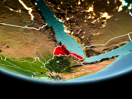 Country of Eritrea in red on planet Earth in the evening with visible border lines and city lights. 3D illustration.