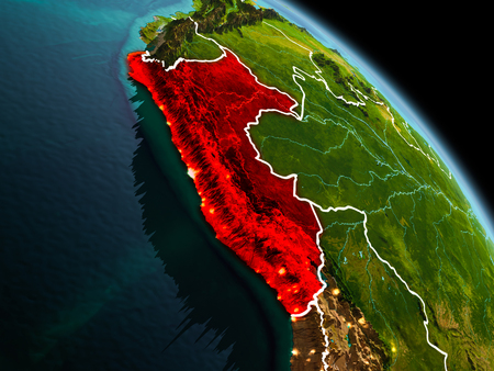 Early morning view of Peru highlighted in red on planet Earth with visible border lines and city lights. 3D illustration.