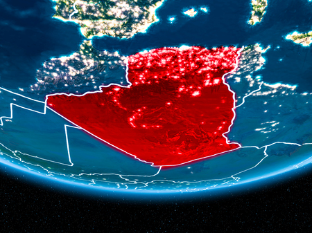 Algeria in red with visible country borders and city lights from space at night. 3D illustration. Stock Photo