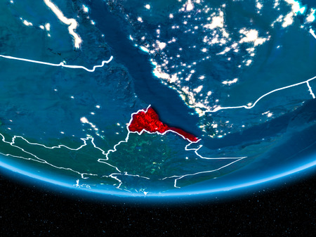 Eritrea in red with visible country borders and city lights from space at night. 3D illustration.
