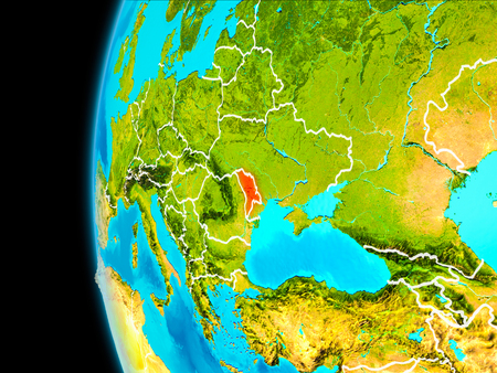 Moldova as seen from Earth's orbit on planet Earth highlighted in red with visible borders. 3D illustration. .