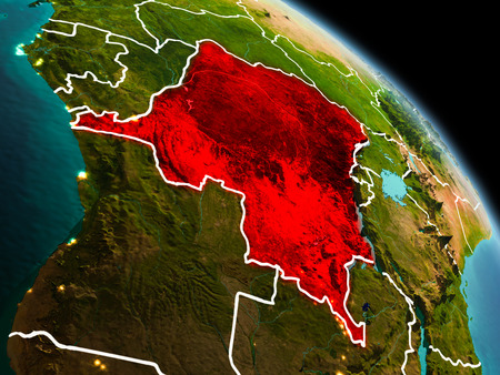 Early morning view of Democratic Republic of Congo highlighted in red on planet Earth with visible border lines and city lights. 3D illustration.