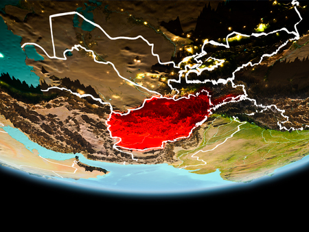 Country of Afghanistan in red on planet Earth in the evening with visible border lines and city lights. 3D illustration.