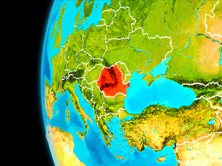 Romania as seen from Earth's orbit on planet Earth highlighted in red with visible borders. 3D illustration. .