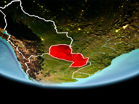 Country of Paraguay in red on planet Earth in the evening with visible border lines and city lights. 3D illustration.