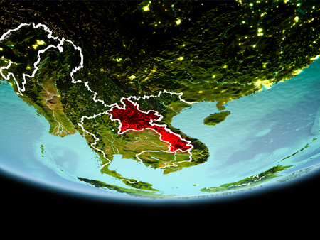 Country of Laos in red on planet Earth in the evening with visible border lines and city lights. 3D illustration. Stock Photo