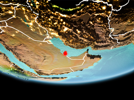 Country of Qatar in red on planet Earth in the evening with visible border lines and city lights. 3D illustration.