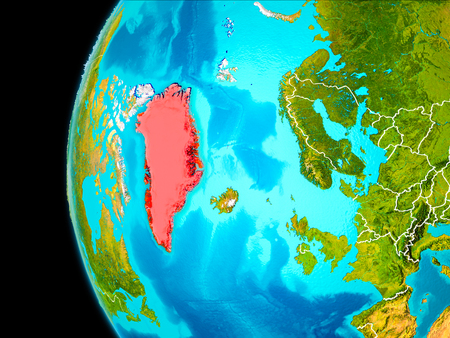 Greenland as seen from Earth's orbit on planet Earth highlighted in red with visible borders. 3D illustration. .