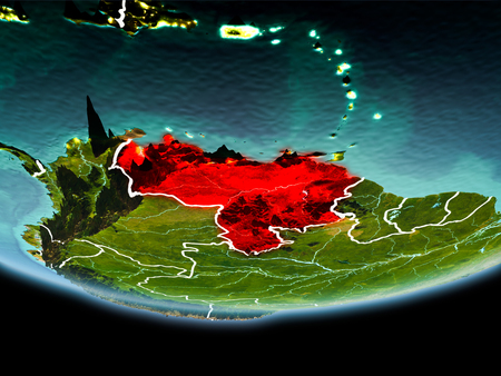 Country of Venezuela in red on planet Earth in the evening with visible border lines and city lights. 3D illustration.
