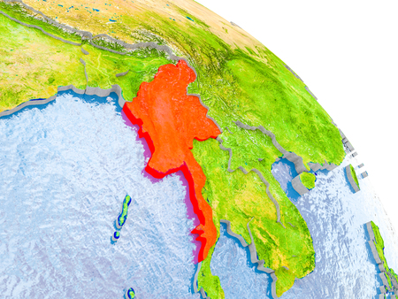 Illustration of Myanmar highlighted in red on glob with realistic surface with visible country borders, and water in the oceans. 3D illustration.