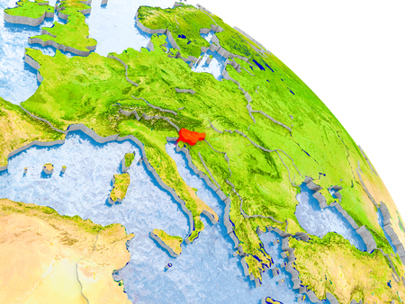 Illustration of Slovenia highlighted in red on glob with realistic surface with visible country borders, and water in the oceans. 3D illustration. Stock Photo