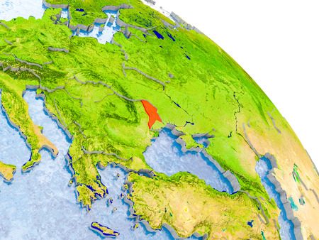 Illustration of Moldova highlighted in red on glob with realistic surface with visible country borders, and water in the oceans. 3D illustration. Stock Photo