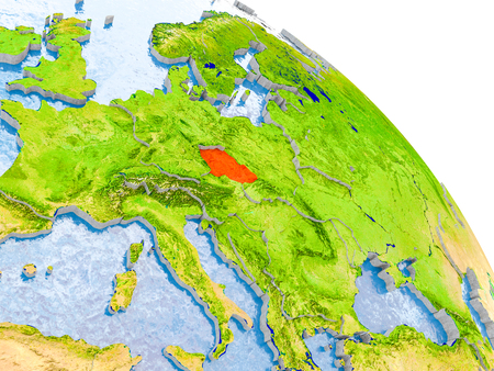 Illustration of Czech republic highlighted in red on glob with realistic surface with visible country borders, and water in the oceans. 3D illustration.