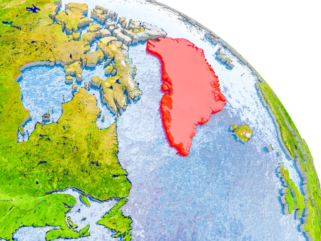 Illustration of Greenland highlighted in red on glob with realistic surface with visible country borders, and water in the oceans. 3D illustration.