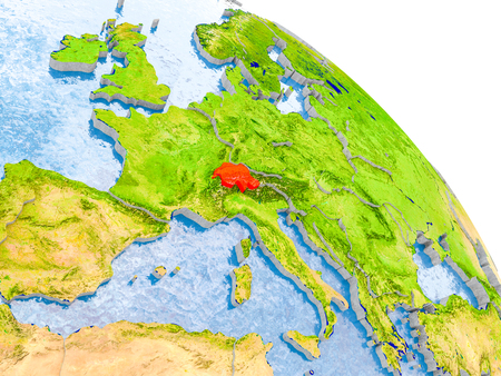 Illustration of Switzerland highlighted in red on glob with realistic surface with visible country borders, and water in the oceans. 3D illustration. Stock Photo