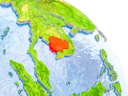 Illustration of Cambodia highlighted in red on glob with realistic surface with visible country borders, and water in the oceans. 3D illustration. Stock Photo