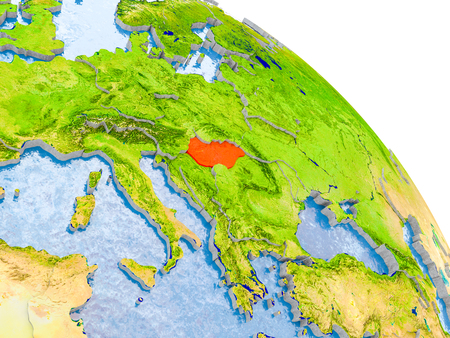 Illustration of Hungary highlighted in red on glob with realistic surface with visible country borders, and water in the oceans. 3D illustration.