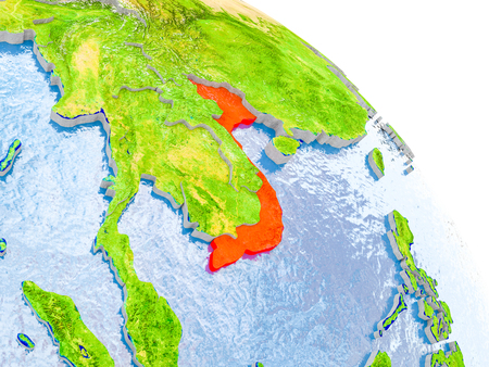 Illustration of Vietnam highlighted in red on glob with realistic surface with visible country borders, and water in the oceans. 3D illustration.