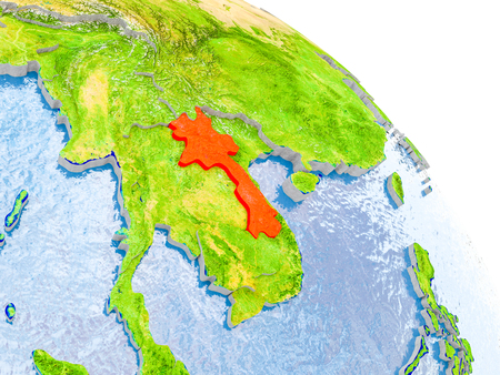 Illustration of Laos highlighted in red on glob with realistic surface with visible country borders, and water in the oceans. 3D illustration.