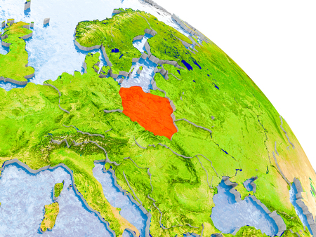 Illustration of Poland highlighted in red on glob with realistic surface with visible country borders, and water in the oceans. 3D illustration.