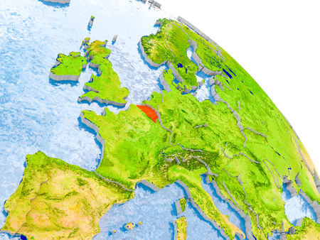 Illustration of Belgium highlighted in red on glob with realistic surface with visible country borders, and water in the oceans. 3D illustration.